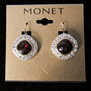Monet gold red rhinestone earrings